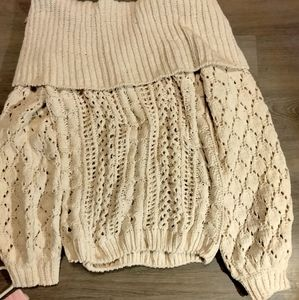 Umgee ivory chunky knit off the shoulder sweater